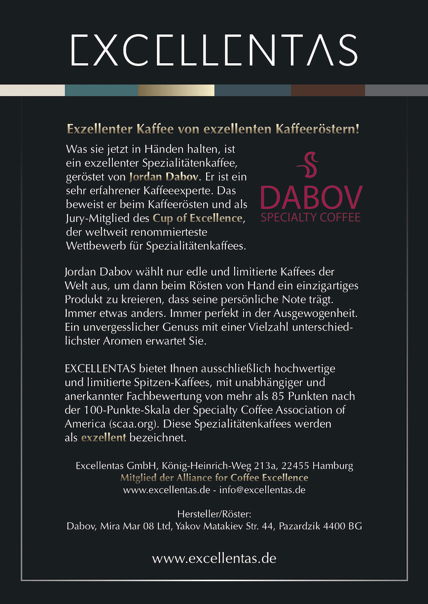 Exzellenter Kaffee von exzellenten Kaffeeröstern / Dabov Specialty Coffee von Excellentas Limited Edition Cup of Excellence Gewinner