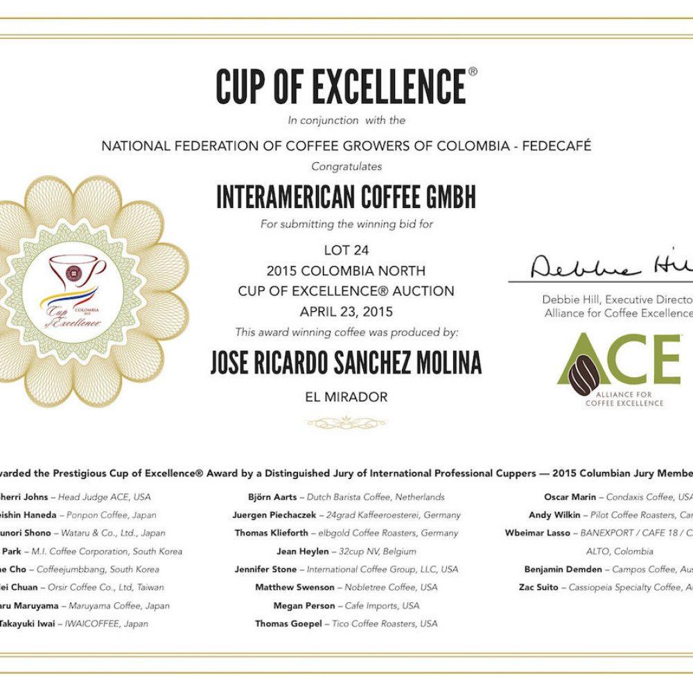 Zertifikat exzellenter Kaffee von Excellentas Cup of Excellence Gewinner 2015 Mirador