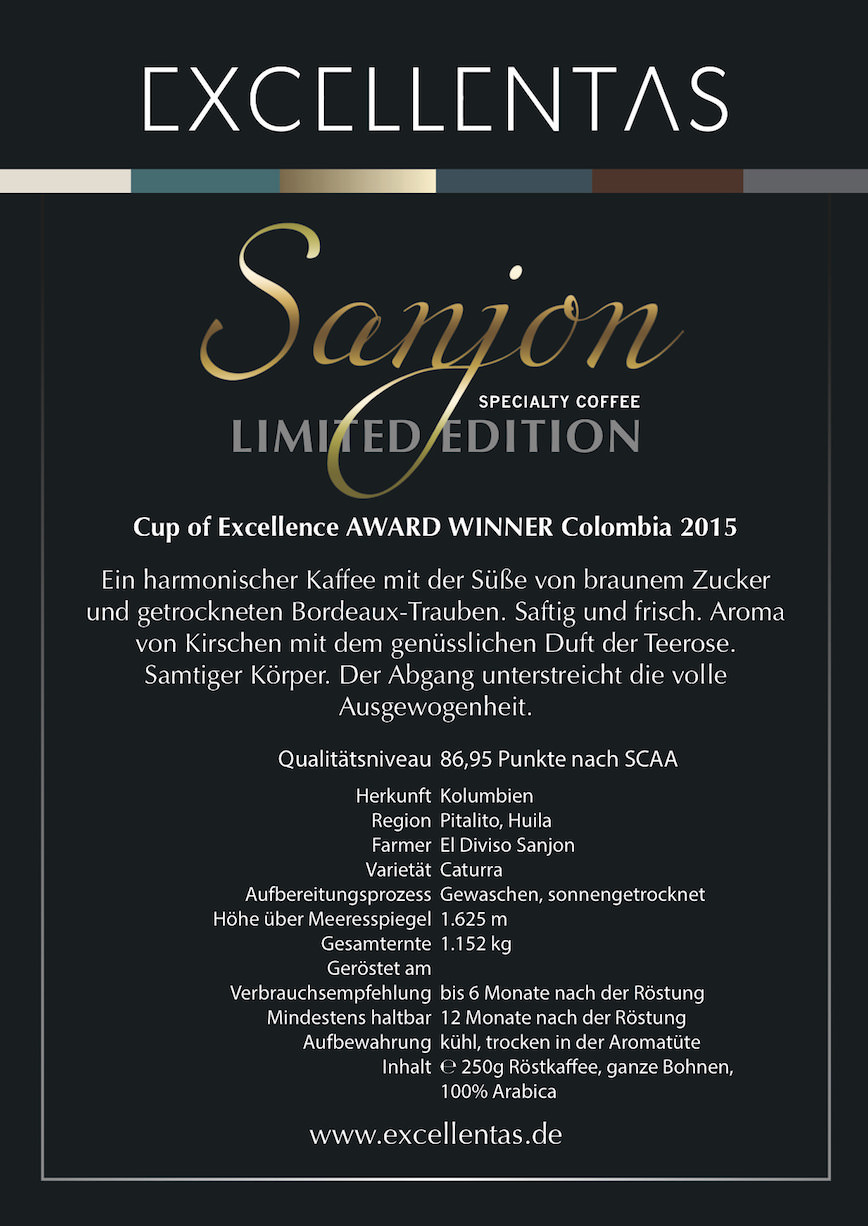 Exzellenter Kaffee SANJON limited edition Cup of Excellence Gewinner 2015 Kolumbien