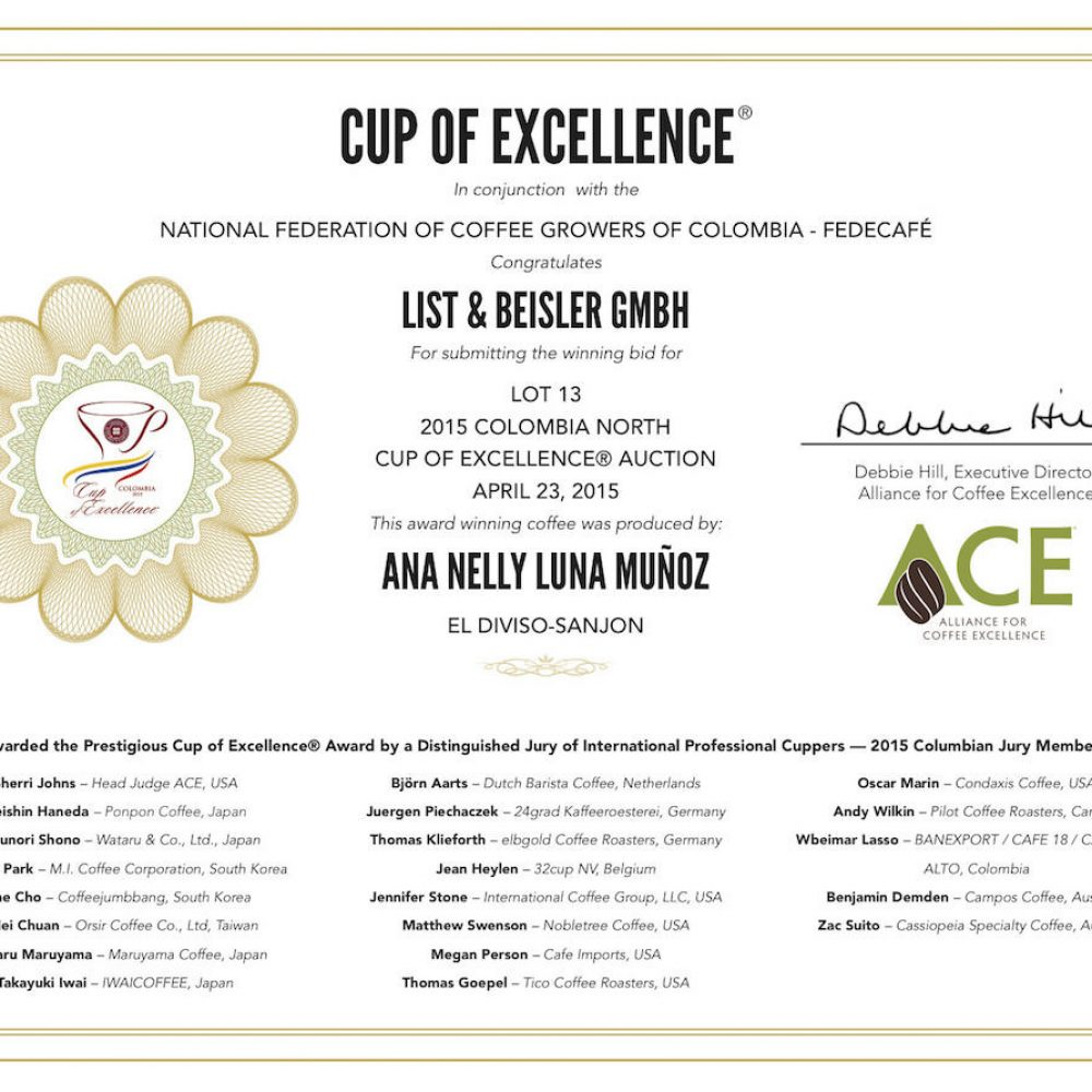Zertifikat exzellenter Kaffee von Excellentas Cup of Excellence Gewinner 2015 Sanjon