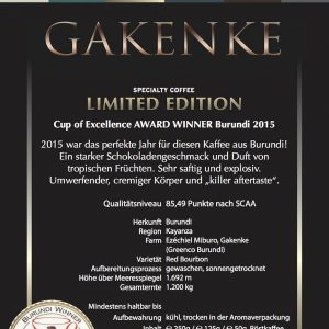 Weltmeister Kaffee GAKENKE limited edition Cup of Excellence Gewinner 2015 Burundi