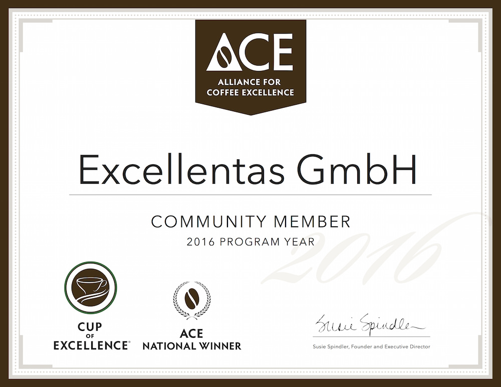 Excellentas ist Mitglied der Alliance for Coffee Excellence / exzellenter Kaffee / Specialty Coffee / Gourmet bester Kaffee
