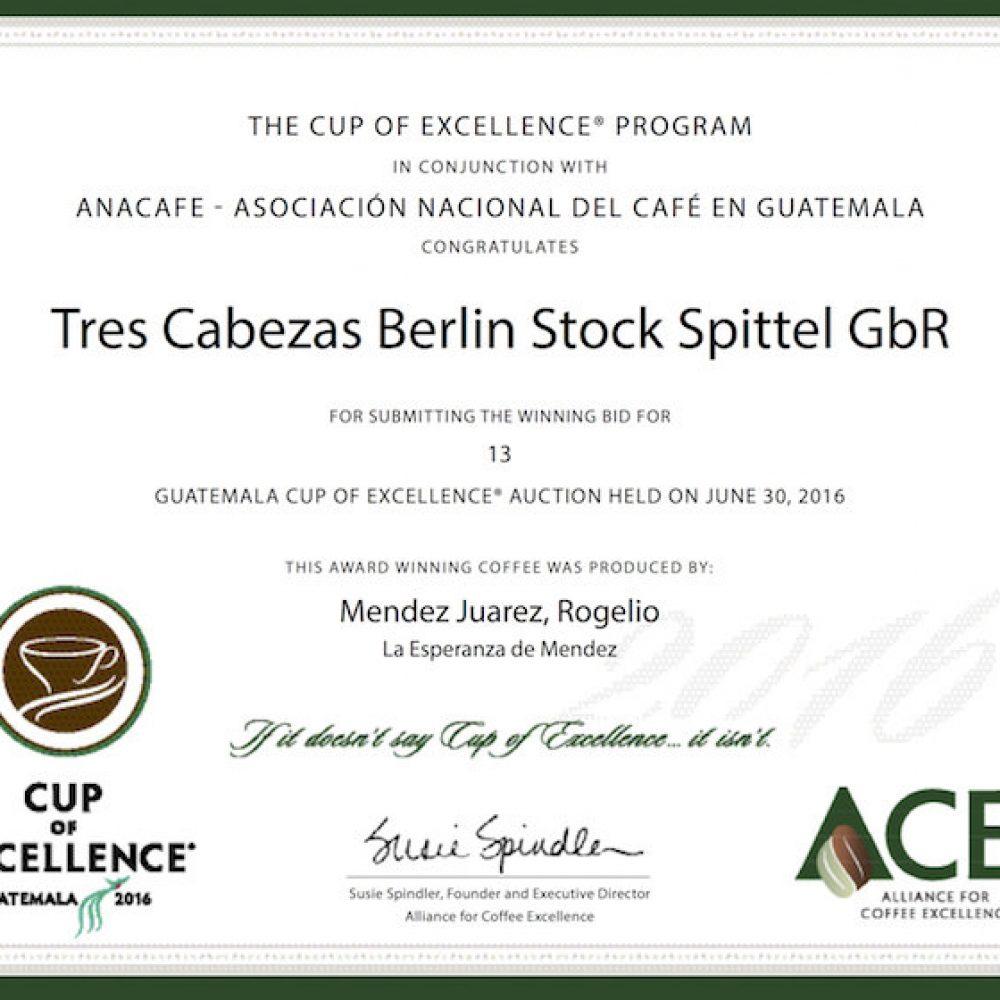 Exzellenter Kaffee ESPERANZA Cup of Excellence Gewinner Guatemala, Einkaufszertifikat